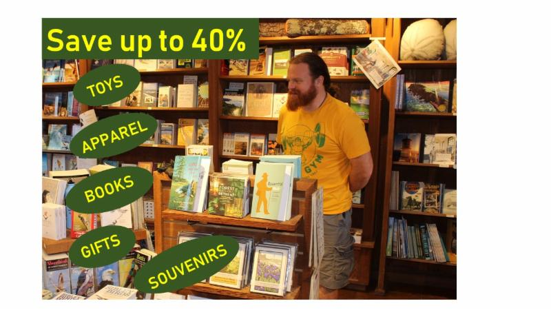 Save 40 percent on toys, books, gifts, apparel, and souvenirs