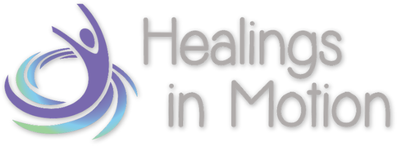 Healings in Motion Logo, an artistic depiction of swirling lines morphig into a body with arms raised.