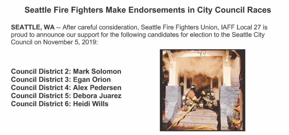 Seattle Fire Fighters September Report