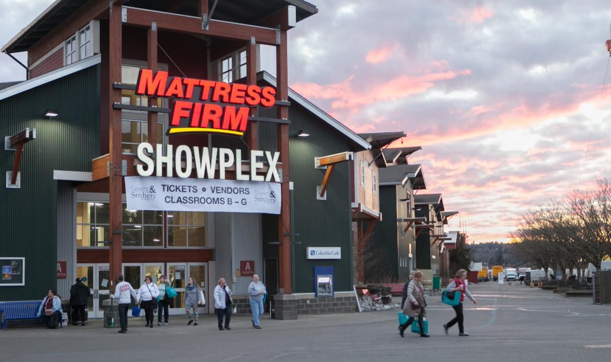 The Mattress Firm Showplex at sunset at the Washington State Fairgrounds.