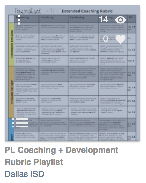 PL Coaching and Development Rubric Playlist by Dallas ISD
