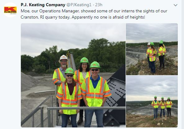 Interns in hardhats at a quarry