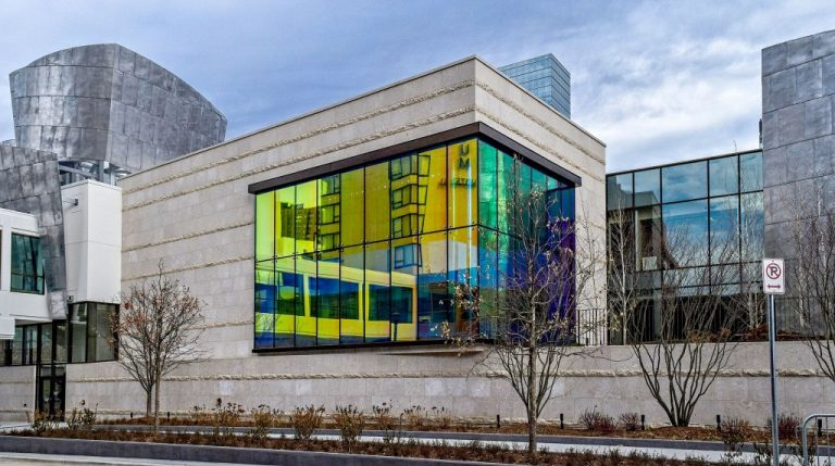 Building with colorful glass windows