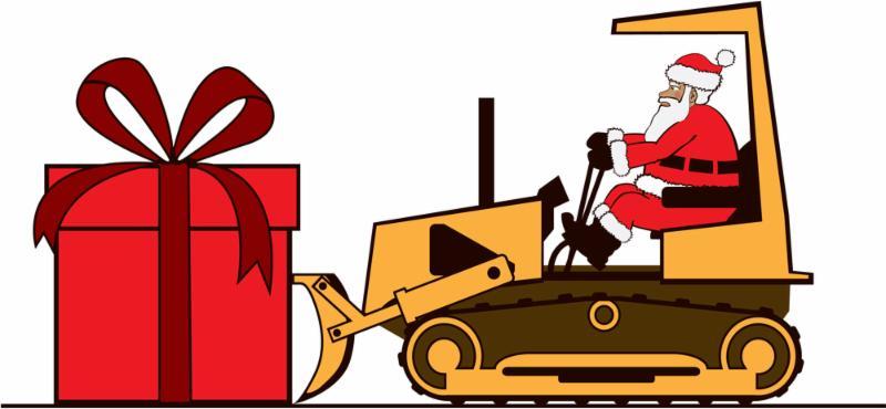 Santa driving a bulldozer