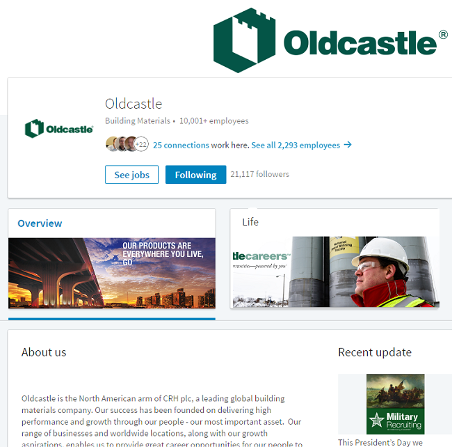 Screenshot of Oldcastle LinkedIn page