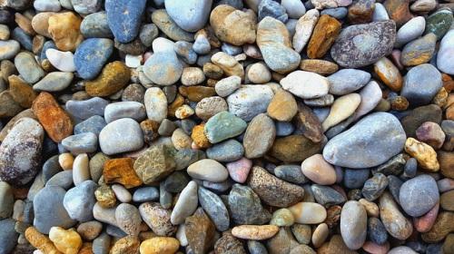 Multicolored rocks and pebbles