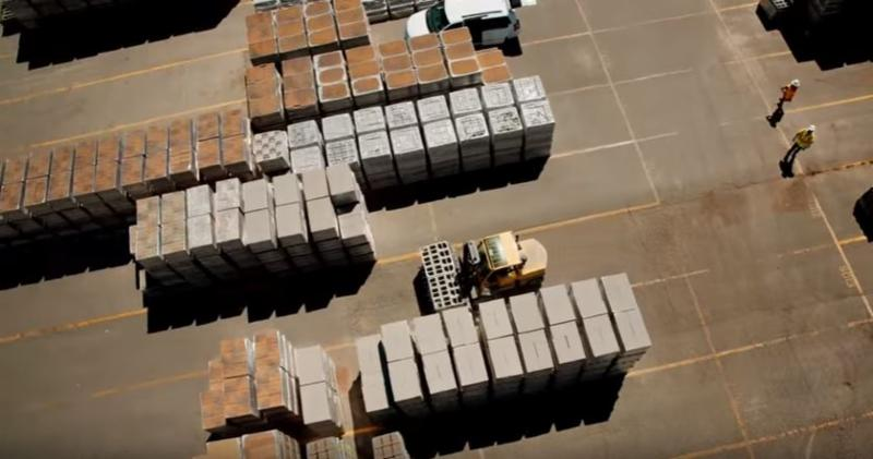 View of a paver plant from above