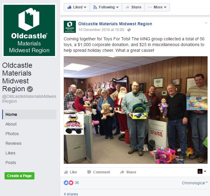 Oldcastle Materials Midwest Facebook Page Screenshot of employees holding toys donated to Toys for Tots
