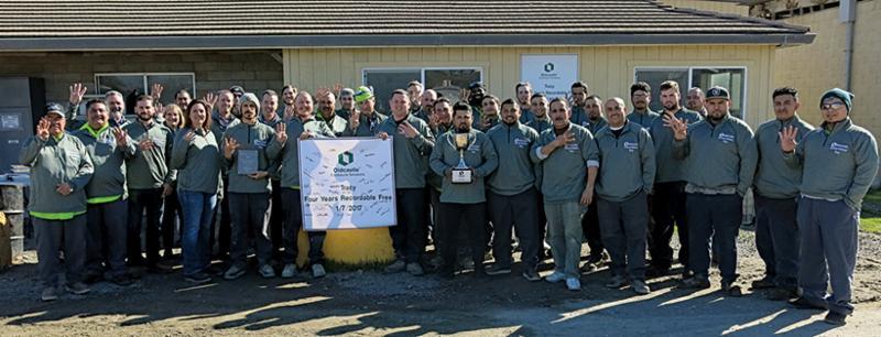 Group of employees holding safety award