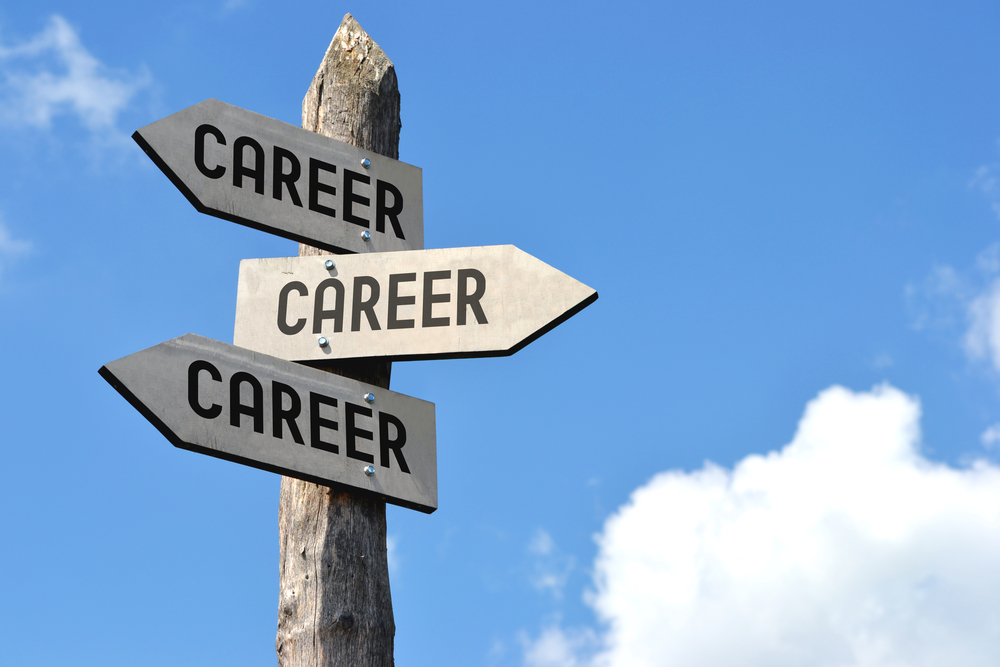 Sign post with arrows saying career
