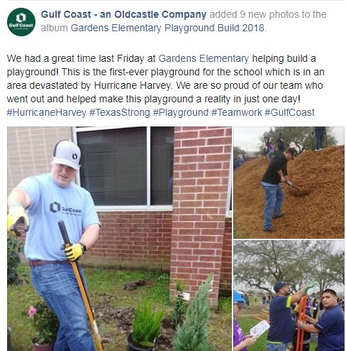 Employees digging mulch at a playground