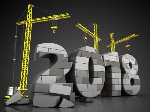 Illustration of crane lifting 2018 numbers