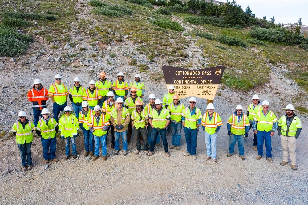 Paving project employees