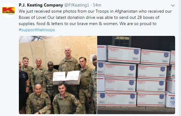 U.S. troops with care package boxes