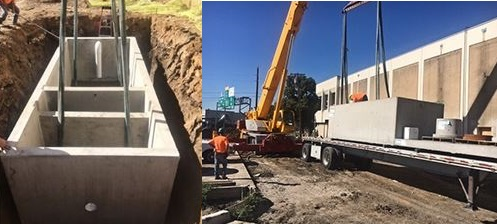 Precast grease trap being lifted