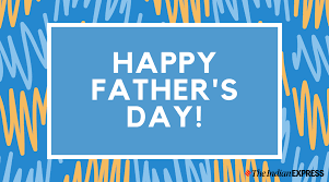 White texts reads Happy Father's Day inside a blue box which is framed by pink and blue squiggles on a blue background