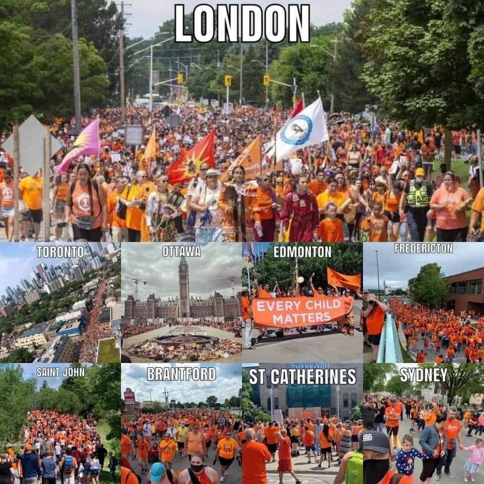 collage of photos in Canadian cities showing crowds marching in orange shirts