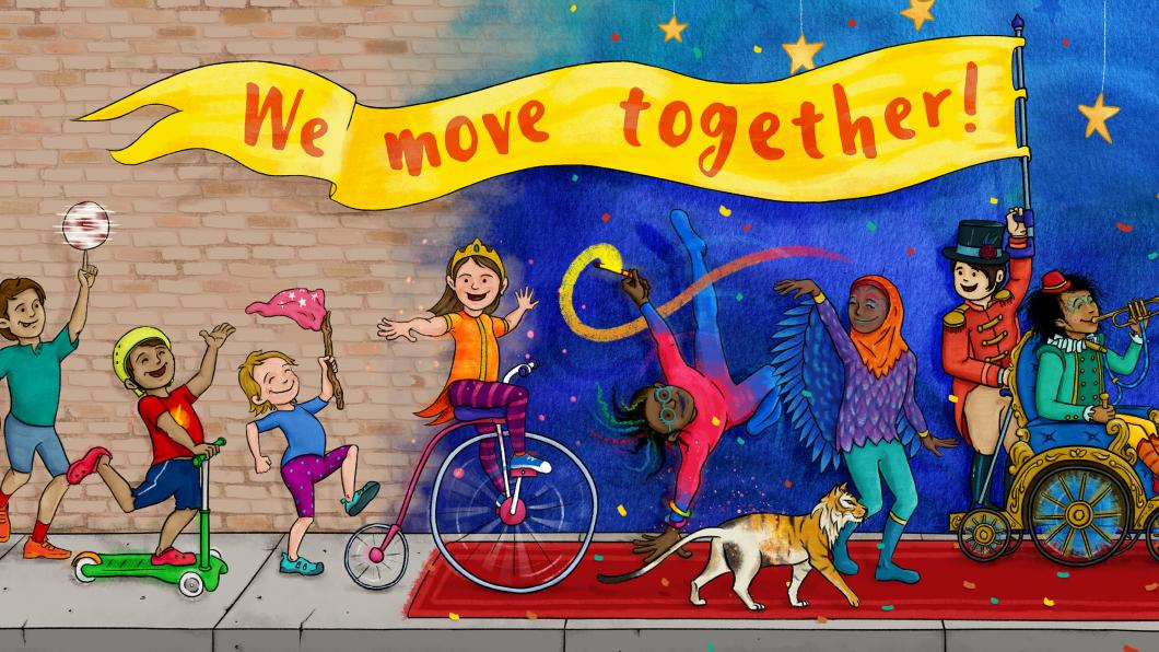 Children of diverse race and ability are celebrating in a parade with a bright yellow banner with the text We Move Together