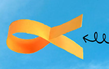 blue background with an orange strip of paper looped to create a paper fish