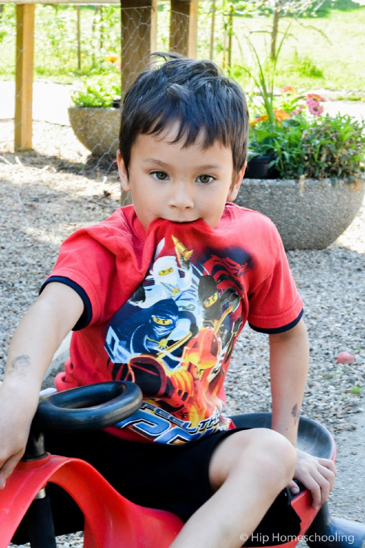 dark haired child sits on the ground wearing a red shirt with ninjas on the front holding the front of the neck of his shirt in his mouth