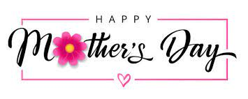 horizontal white banner with the text Happy Mothers Day and a pink flower inside the O