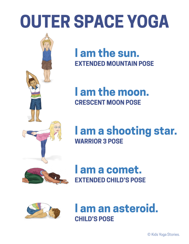 five stacked illustrations of diverse children in yoga poses