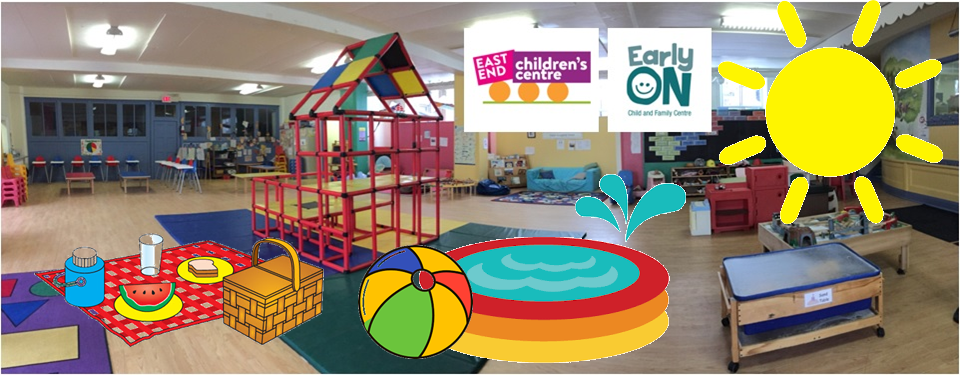 children's indoor play space with clipart added showing a sun and a kiddy pool and a picnic