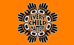 orange background with indigenous symbols in black arranged in a circle around the text Every Child Matters