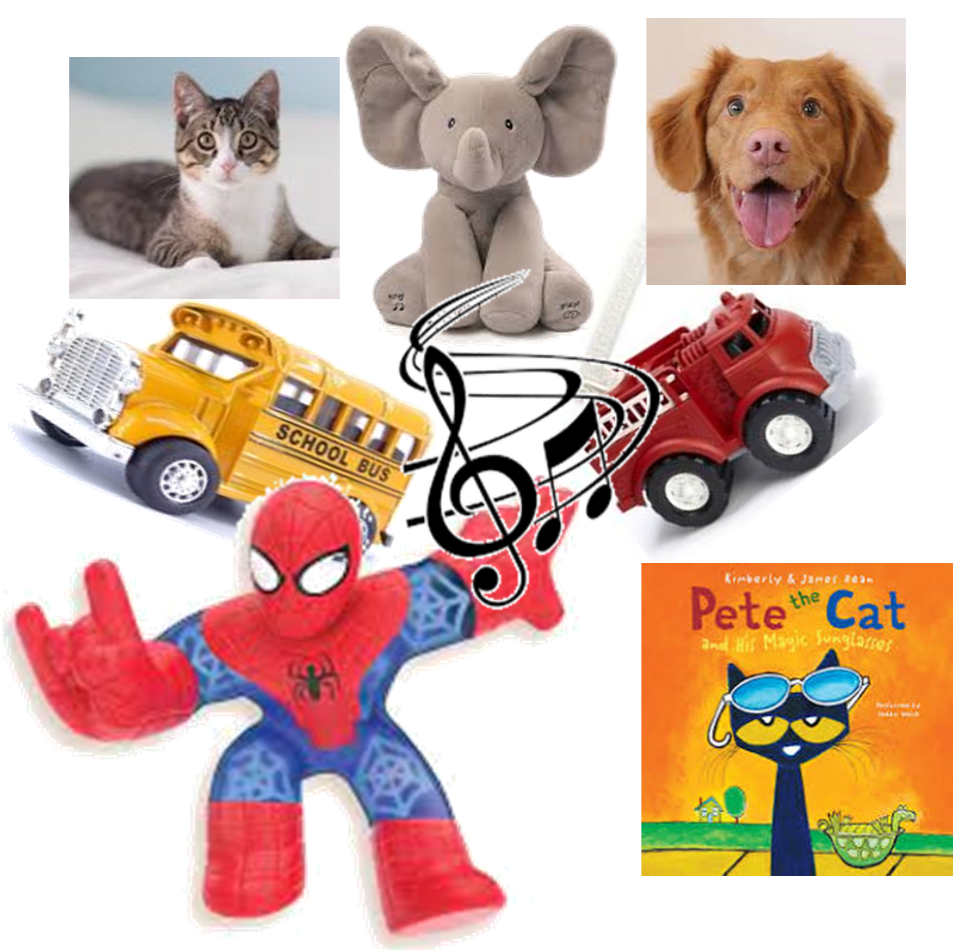 a grey tabby cat and a light brown dog with floppy ears and a grey plush elephant and a toy school bus and a toy fire truck and a spider man and a children's book arranged randomly