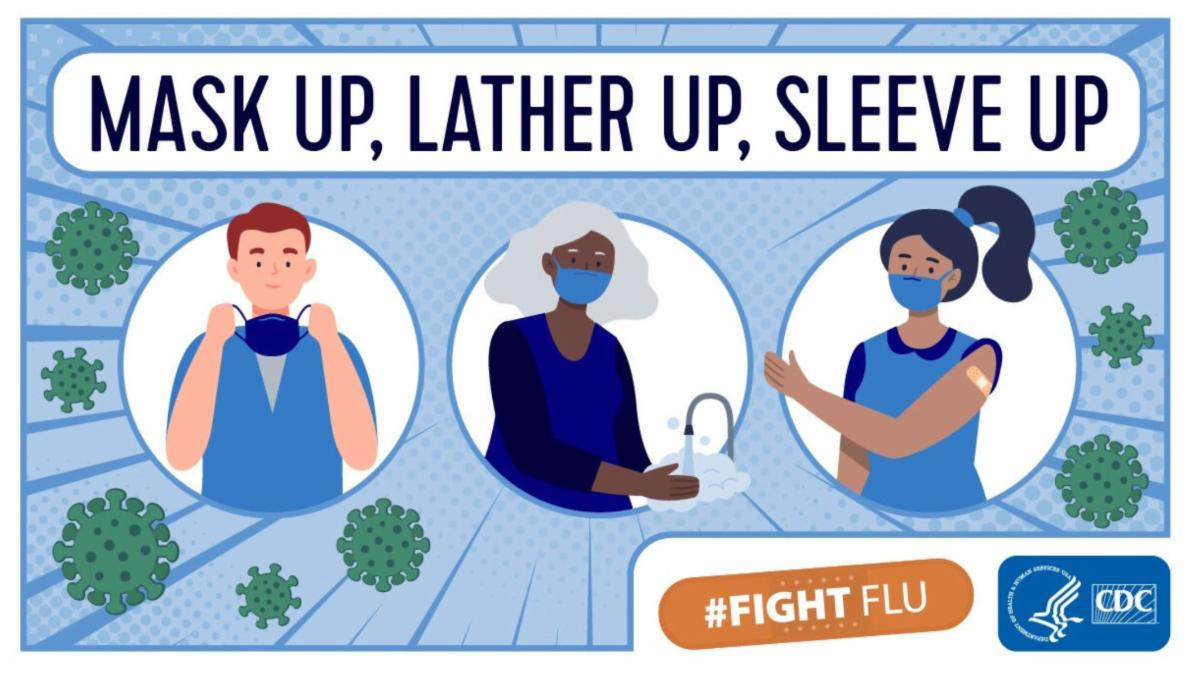 Mask up, Lather up, Sleeve up for flu awareness