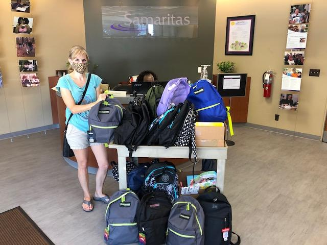 Emmanuel Lutheran in Livonia dropped off 44 backpacks for kids and teens stuffed full of school supplies and a $150 check of additional donations for supplies.