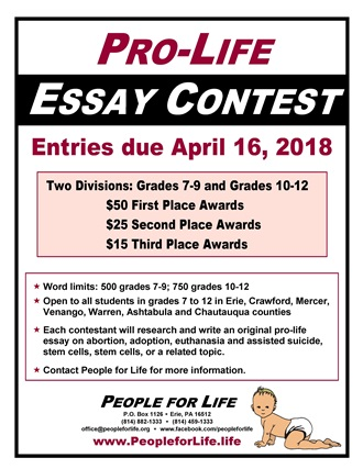 Thesis For Persuasive Essay People For Life Is Sponsoring A Prolife Essay Contest For Students In  Grades  Cash Prizes Will Be Awarded      For The Top Three  Essays In  The Importance Of Learning English Essay also Apa Sample Essay Paper Legislative Action Alerts  Student Contests Essay And Oratory  Science Essay Examples