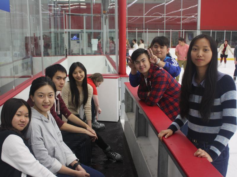 Students at Breslow Center taking break from ice skating