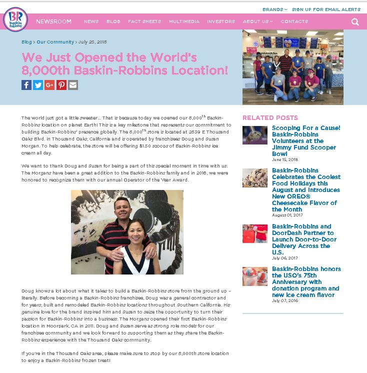 Baskin Robbins Website