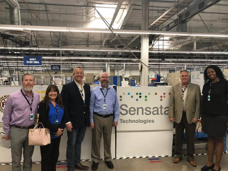 Councilmembers and City staff at Sensata Technologies