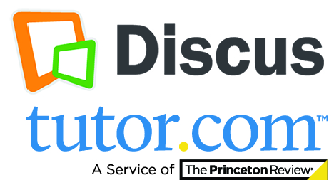 Discus log above blue tutor.com logo_ a service of The Princeton Review