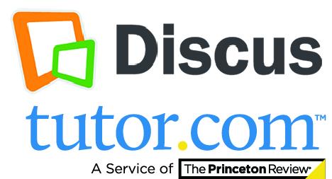 Discus log above blue tutor.com logo_ a service of The Princeton Review