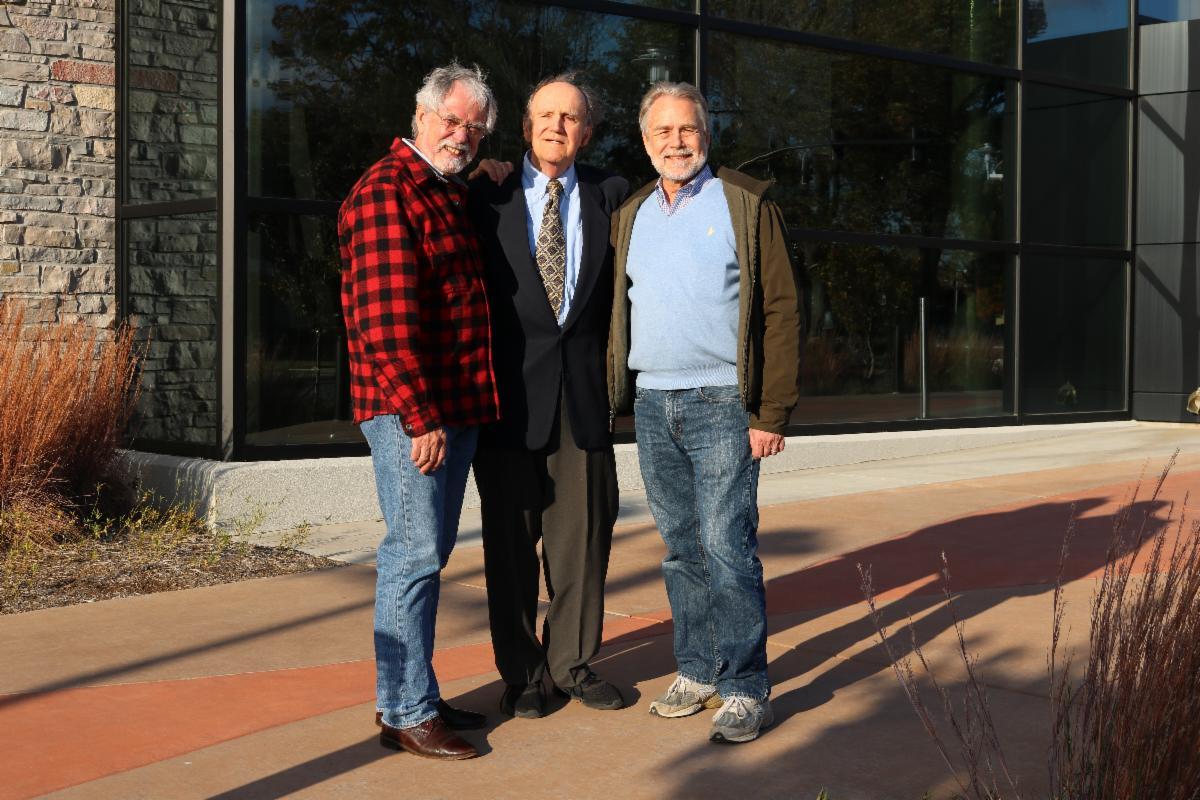 Bob Leonard Albert Ihde and Robert Henninger in front of the bluegrass museum