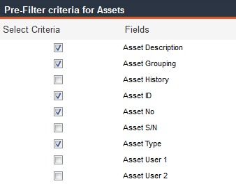 Pre-filter criteria for Assets