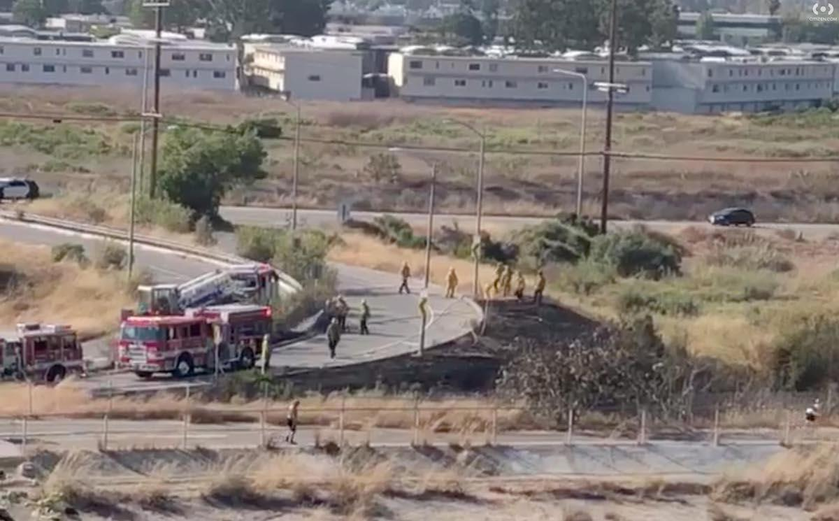 Firefighters tending to the fire at Area A of the Ballona Wetlands Ecological Reserve.
