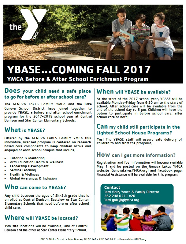YBASE - Before & After School Child Care For Lake Geneva Joint #1 Schools, provided by the Geneva Lakes Family YMCA
