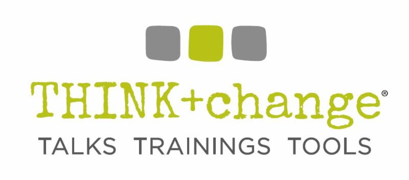 THINK change logo with 2 grey squares and a green square. Logo also says TALKS TRAININGS TOOLS
