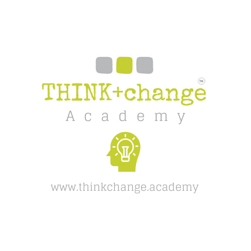 THINK change academy logo with a green profile of a head with a white lightbulb inside. Also has the website www.thinkchange.academy