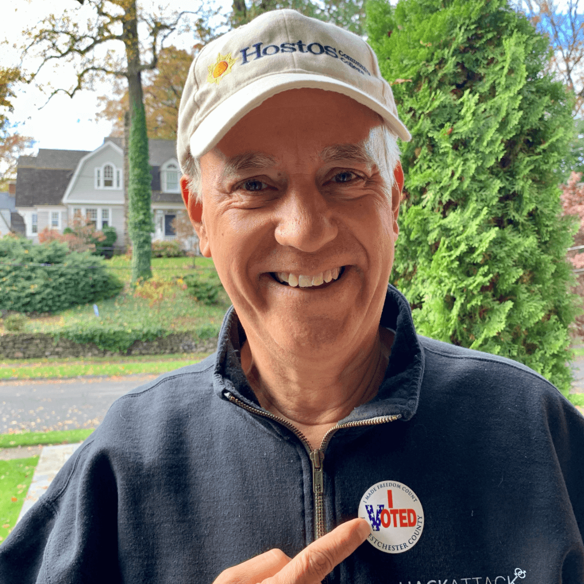 The Chancellor with an early voter sticker