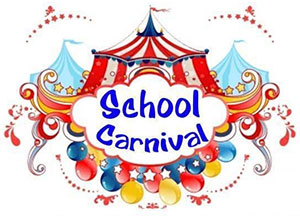 Illustration of a carnival tent with the words School Carnival.