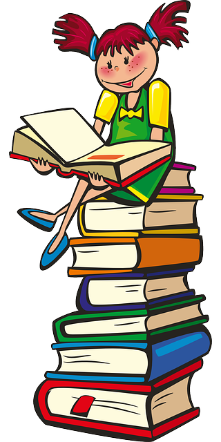 Illustration of a girl sitting on a stack of books, reading a book.