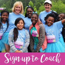 Sign up to Coach - A group of Girls on the Run kids with two coaches.