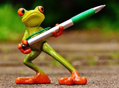 A pen-yielding frog.