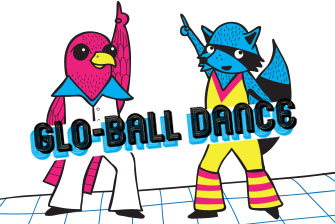 Image of the Franklin Falcon and the Randall raccoon dressed for dancing at the Glo-Ball Dance.