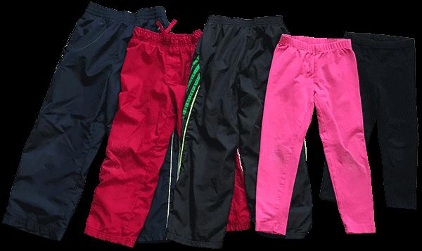 Athletic pants and leggings.